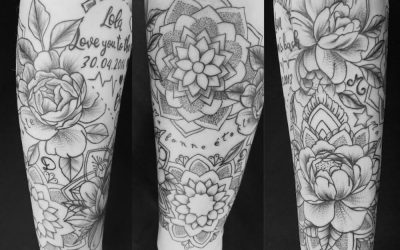 Tatouage sur le bas avec Purple Ink tatoueuse à Thonon